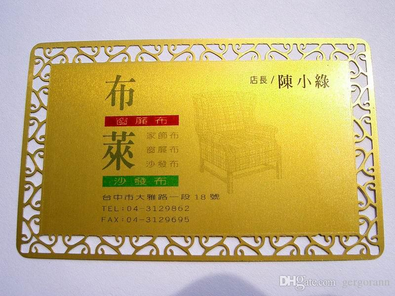 Acheter Frais De Port Gratuits Or Jaune Blanc Materiel Carte De Visite En Metal Avec Cadre De Chrysantheme Bag Epaisseur De 0 22mm De 27 13 Du