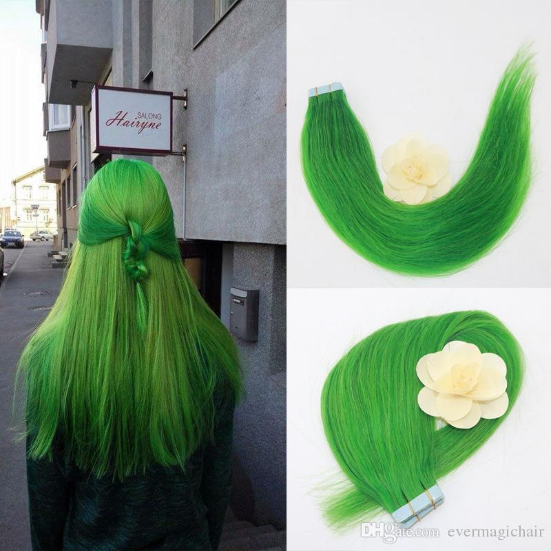 머리 확장 20pcs / set에 옥 녹색 레미 스트레이트 테이프 피부 Weft에서 원활한 PU 테이프 저렴 한 인간의 머리카락