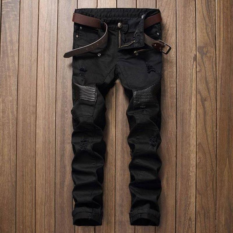 Moda Uomo Strappato motociclista in pelle Jeans Patchwork Slim Fit Nero Moto denim Pantaloni Uomo Distressed Jeans Pants