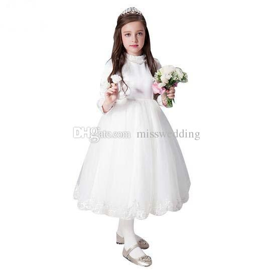 Custom Flower Girl Dress High Neck Long Sleeve First Communion Dresses Tea Length Children Dress Party Zip Back