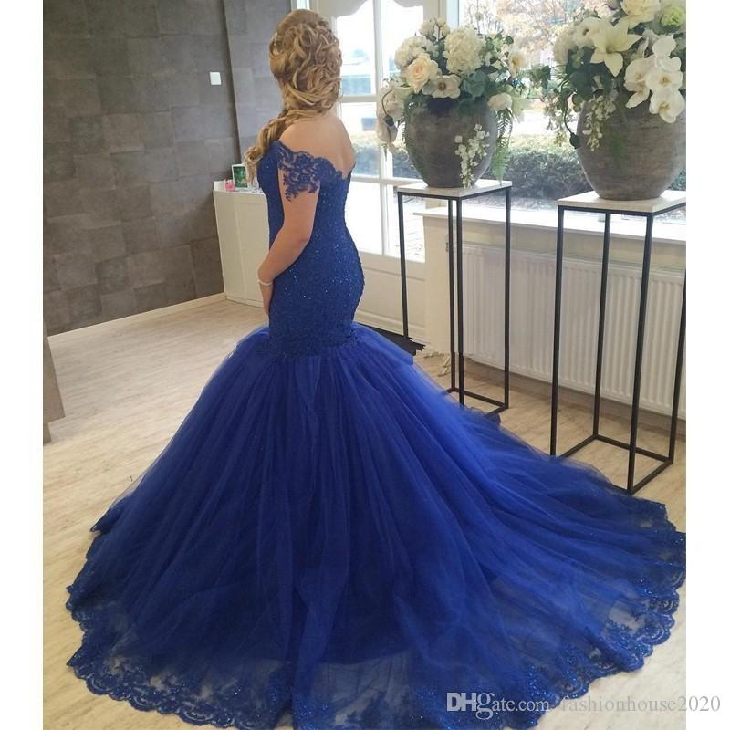 Royal Blue Off The Shoulder Mermaid Wedding Dresses Lace Sparkly Beaded Plus Size Wedding Dress Tulle Colorful Bridal Gowns Wedding Dress Pictures
