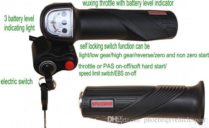 24V36V48V Gasgriff Twist-Gas mit Batteriestufe Indikatorschleusen oder Tastenschalter Teile für elektrische Roller Motorkyle Ebike