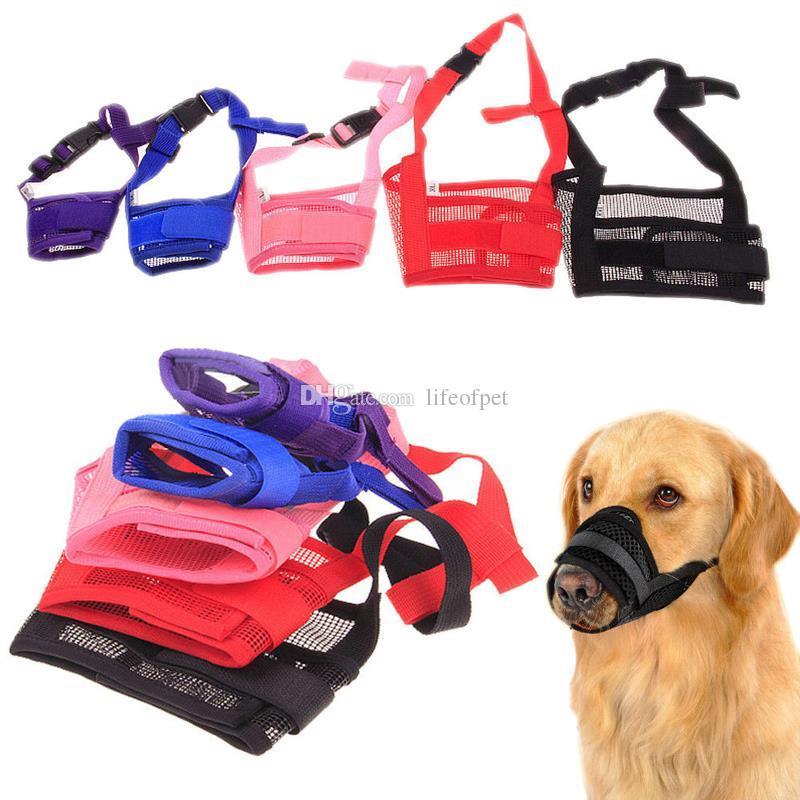 10 adet 5 Renkler Pet Köpek Ayarlanabilir Maske Bark Bite Mesh Ağız Namlu Tımar Anti Dur Çiğneme Ücretsiz Nakliye
