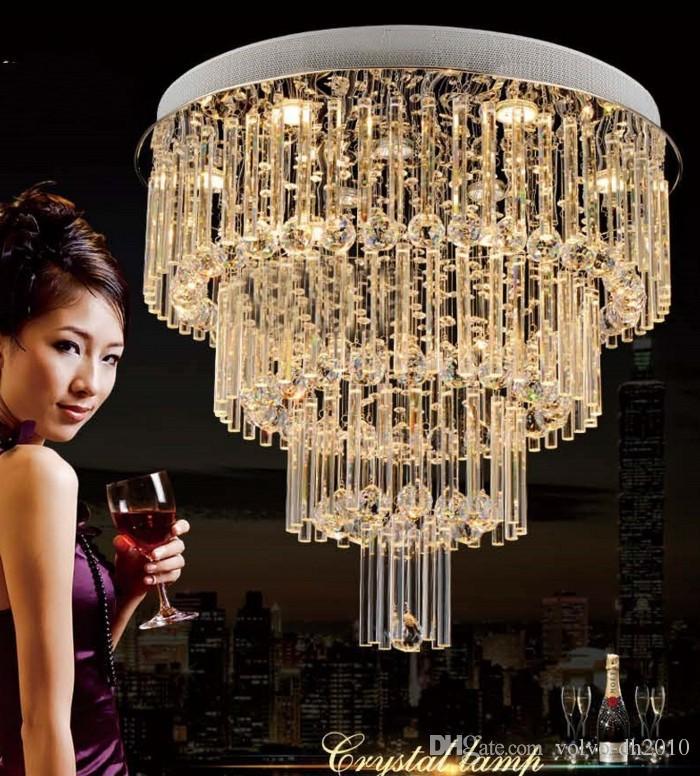 Moderno k9 cristallo plafoniera soggiorno cristallo scale lampada da soffitto per sala da pranzo Lustres lampada di cristallo LLFA