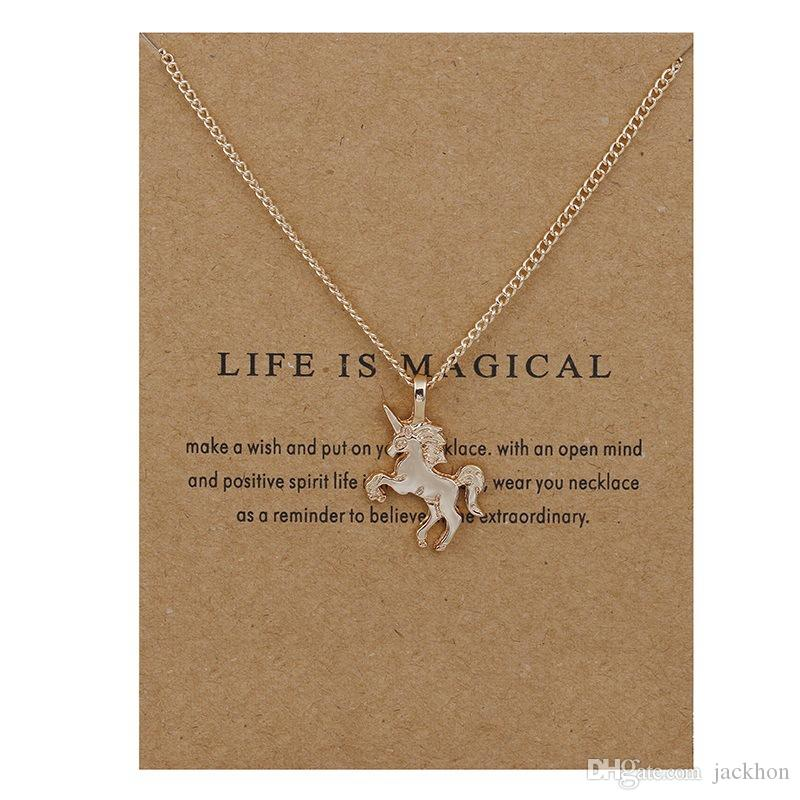 10PCS Fée Conte Licorne Collier Animal Or / Argent Licorne Pendentif Chaîne Collier Bijoux Souhaite Carte Cadeau pour femmes
