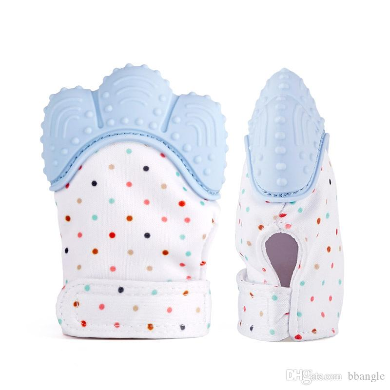 10PCS Silicone Baby Mitts Teething Mitten Glove Teething Chewable Newborn Nursing Teether Beads Infant BPA Free Sound Teethers Xmas Gift