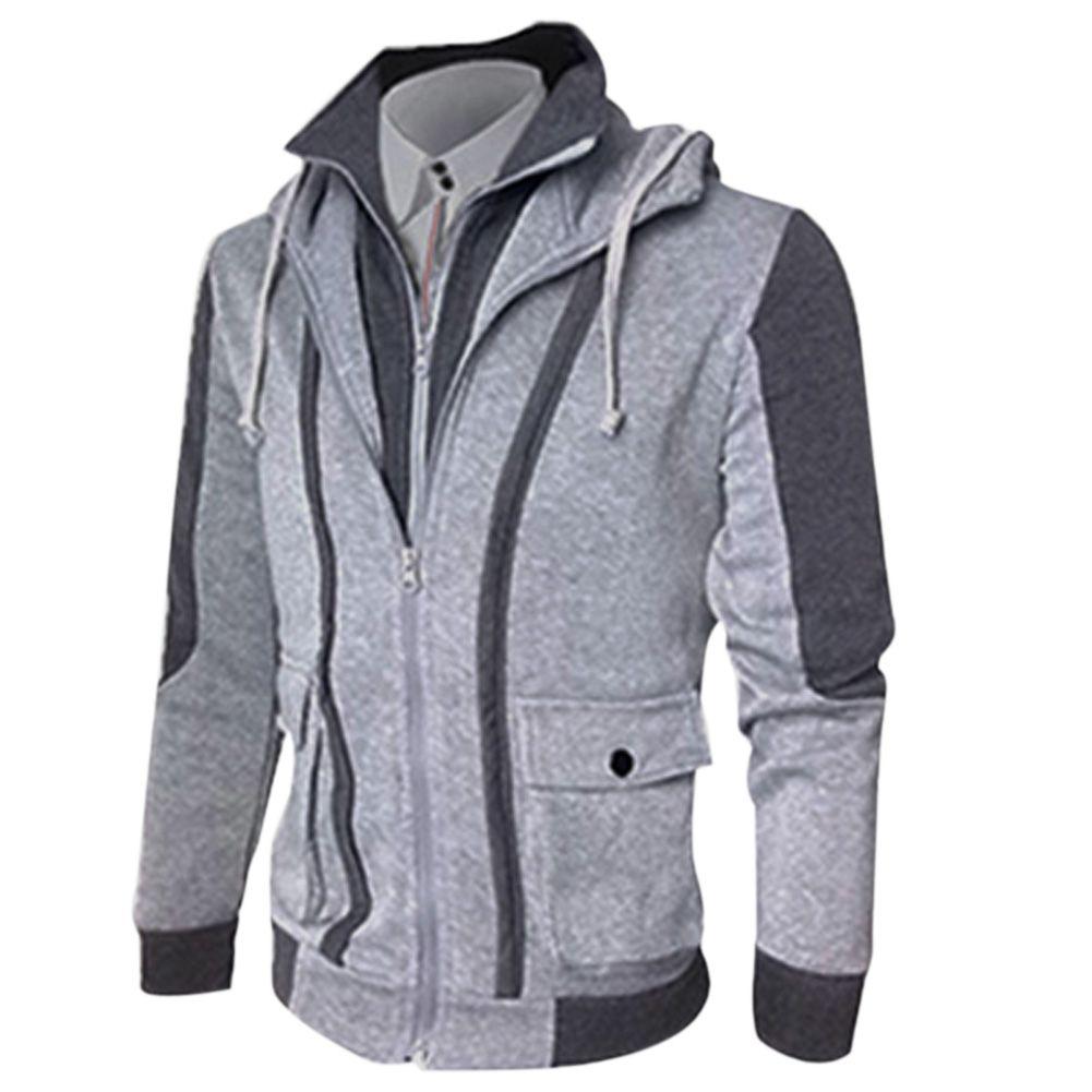 Hurtownia Moda 2017 Nowy Marka Mężczyźni Kapturem Kurtki College Slim Fit Mens Designer Odzież Dorywczo Jacket Jaquetas Masculina