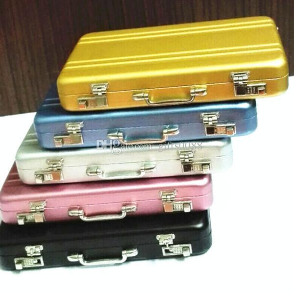 Black Mini Aluminum Briefcase Suitcase Business Name Credit ID Card Holder Case
