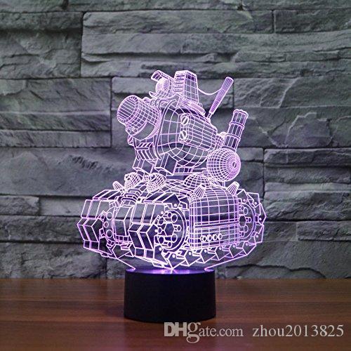 Modelo de Tanques de Metal Slug Advance Lâmpada Mesa de Luz Noturna 3D Mesa de Ilusão de Óptica Lâmpadas de 7 Luzes Em Mudança de Cor