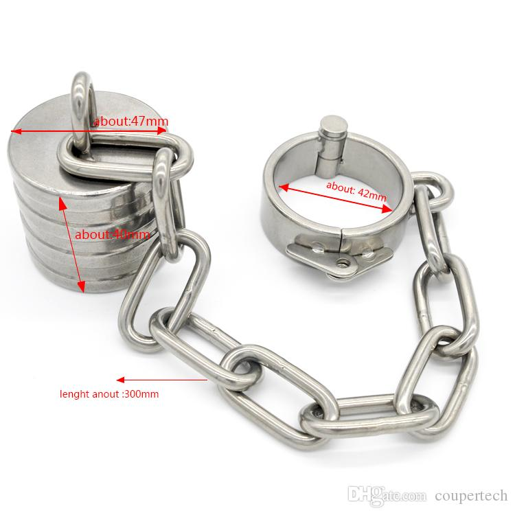Male Chastity Cock Rings Stainless Steel Scrotum Stretching Ball Stretcher BDSM Bondage Devices Ball Weights Adult Sex Toys