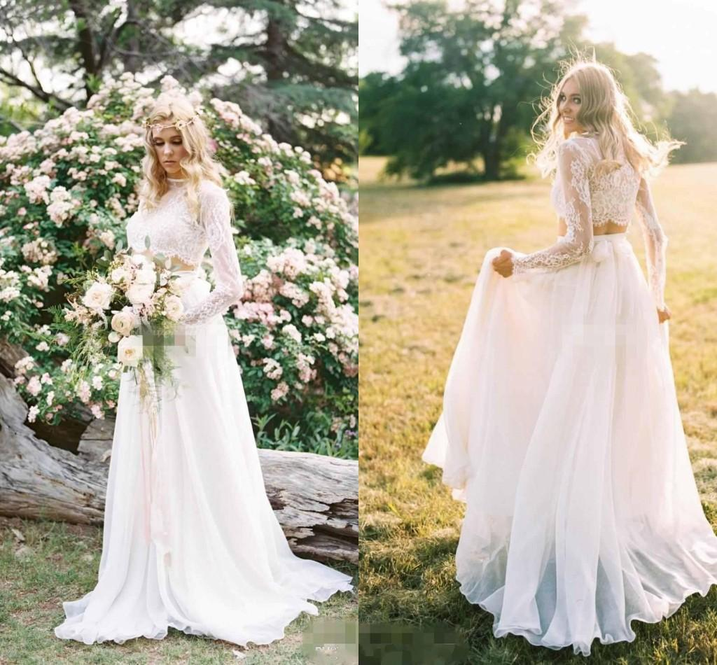 Discount Romantic Two Pieces Boho Beach Wedding Dresses Lace Long Sleeves High Neck Chiffon Bridal Gown A Line Vestido De Novia Custom Made High Fashion Wedding Dresses Lace Vintage Wedding Dresses From