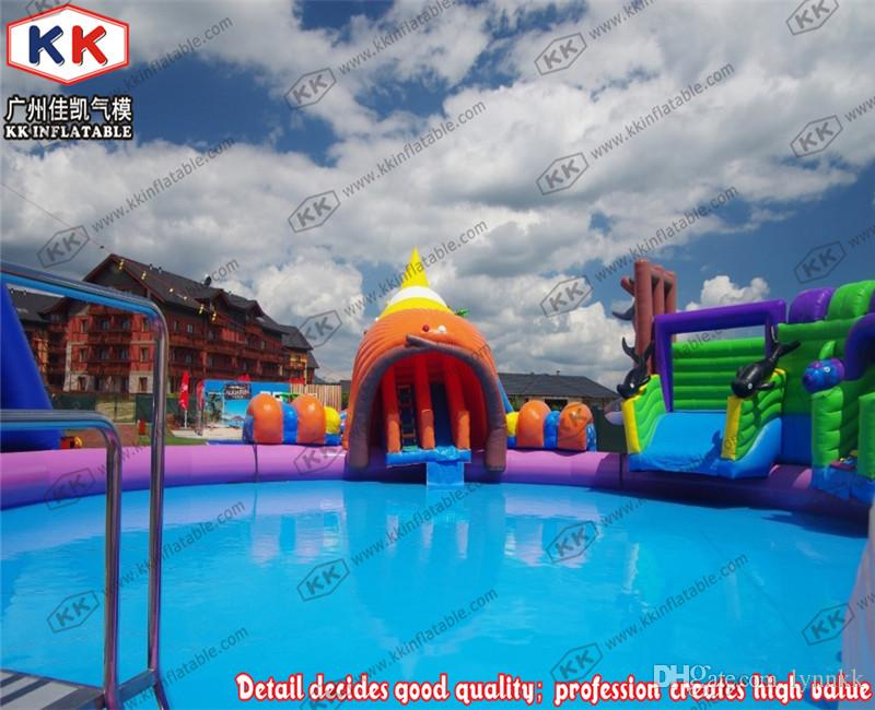 Children Inflatable Pool Water Park With Slides For Beach Activities