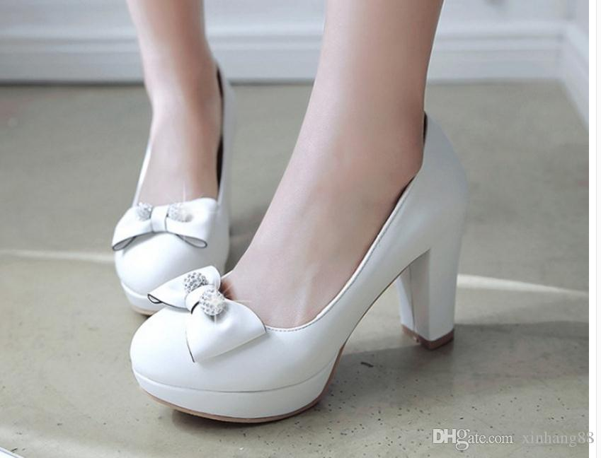 Frühling, Sommer, neue süße Bowknot Fersen dick mit wasserdichten Taiwan runden Kopf Licht Mund Frauen Schuhe Prinzessin Schuhe