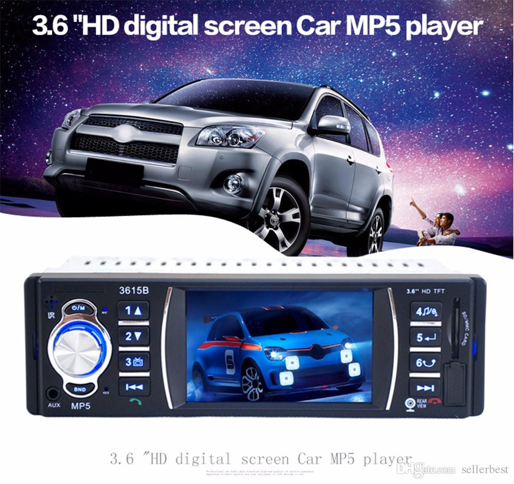 3615B 3.6 Polegada Bluetooth Auto Vídeo Rádio AUX FM USB para Controle Remoto Tela TFT Car Audio Stereo MP4 MP5 Jogadores Câmera de Visão Traseira
