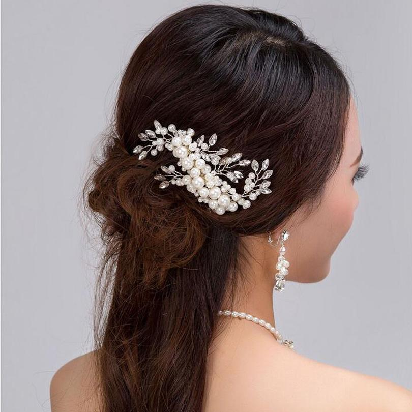 New Silver Plated Faux Pearl Florence Bridal Hair Combs For Brides Wedding Hair Accessories For Women Crystal Hair Pin Headpiece Jewelry