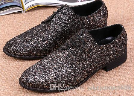 Cheap Men Glitter Wedding Flat Shoes Mens Fashion Casual Loafers ...