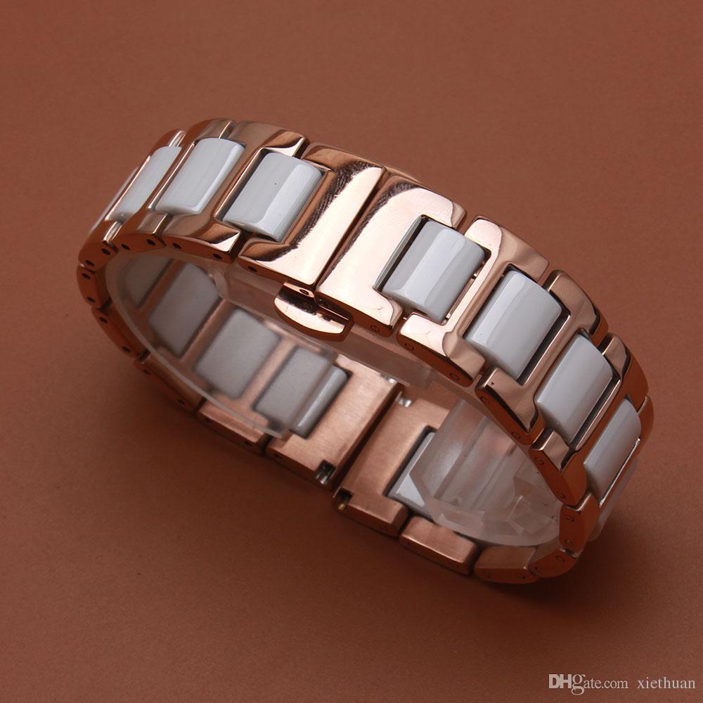 Bracciale in acciaio inossidabile Rosegold cinturino cinturino in ceramica bianca 14 16 18 20 22mm per orologi da polso da donna di moda sostituire