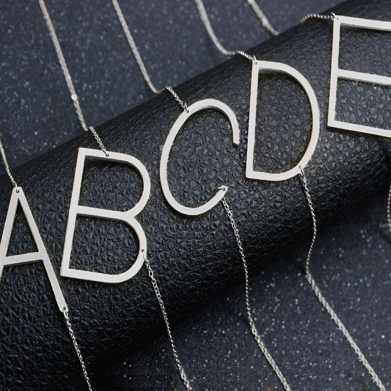 스테인레스 스틸 A-Z 영어 알파벳 초기 목걸이 실버 골드 체인 수도 편지 펜던트 패션 쥬얼리 여성 의지 및 모래