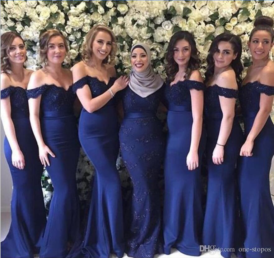 부르고뉴 인어 신부 들러리 드레스 숄더 레이스 비즈 Vestido Madrinha 짙은 붉은 하녀의 명예 드레스 로얄 블루 웨딩 게스트 가운