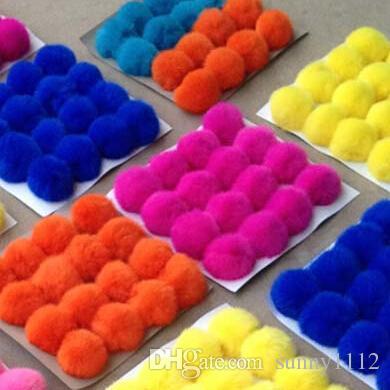 decoration 8cm rabbit fur balls puff rabbit Pom Pom ball for cloth keychains hats bags phone, Support customization