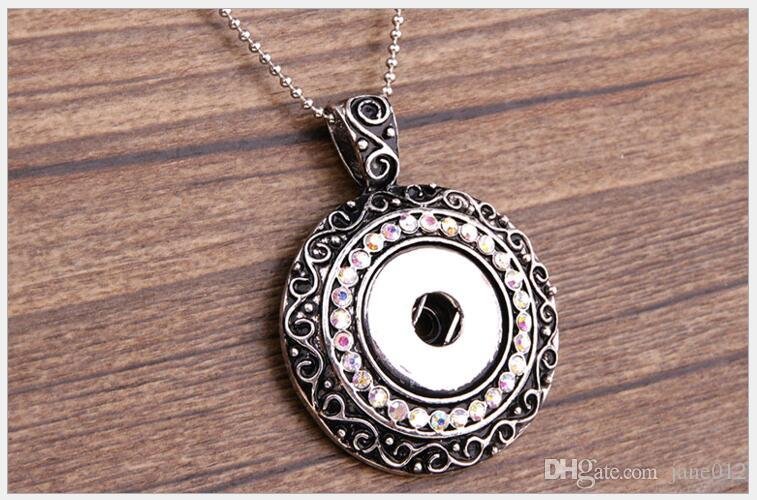 Noosa Snap Button Jewelry Pendant Colorful Stones Alloy Interchangeable Round Circle Pattern DIY Chunks Necklace Europe Jewelry Wholesale