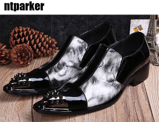 Nowy 2017 Super Cool Man's Shoes Spiczaste metalowe stalowe palce o niskich obcasach Sukienka Mężczyzna Czarny Biały Oxfords Moda EU38-46