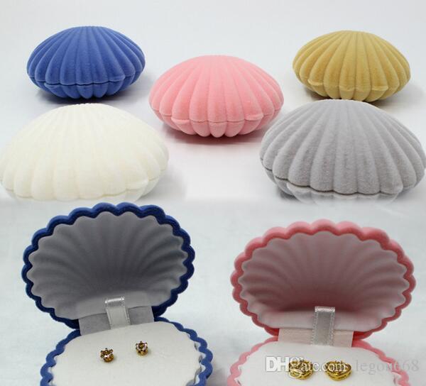 Recién llegado de 4 colores cajas de regalo de la joyería forma de concha de mar cajas de joyería aretes collar cajas de color rosa envío de la gota G196