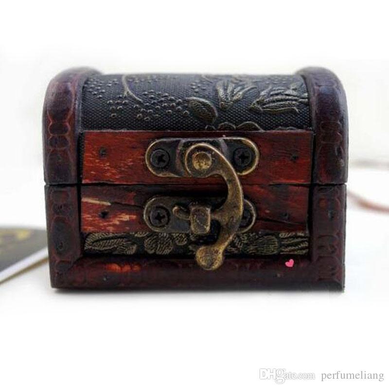 Vintage Jewelry Box Organizer Aufbewahrungskoffer Mini Holz Blumenmuster Metallbehälter handgefertigte kleine Holzkisten