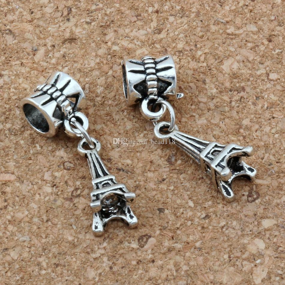 100 stks / partij Oude Zilveren 3D Eiffeltoren Charm Big Hole Kralen voor Sieraden Maken Armband Ketting Bevindingen 27x6.5mm A-120A