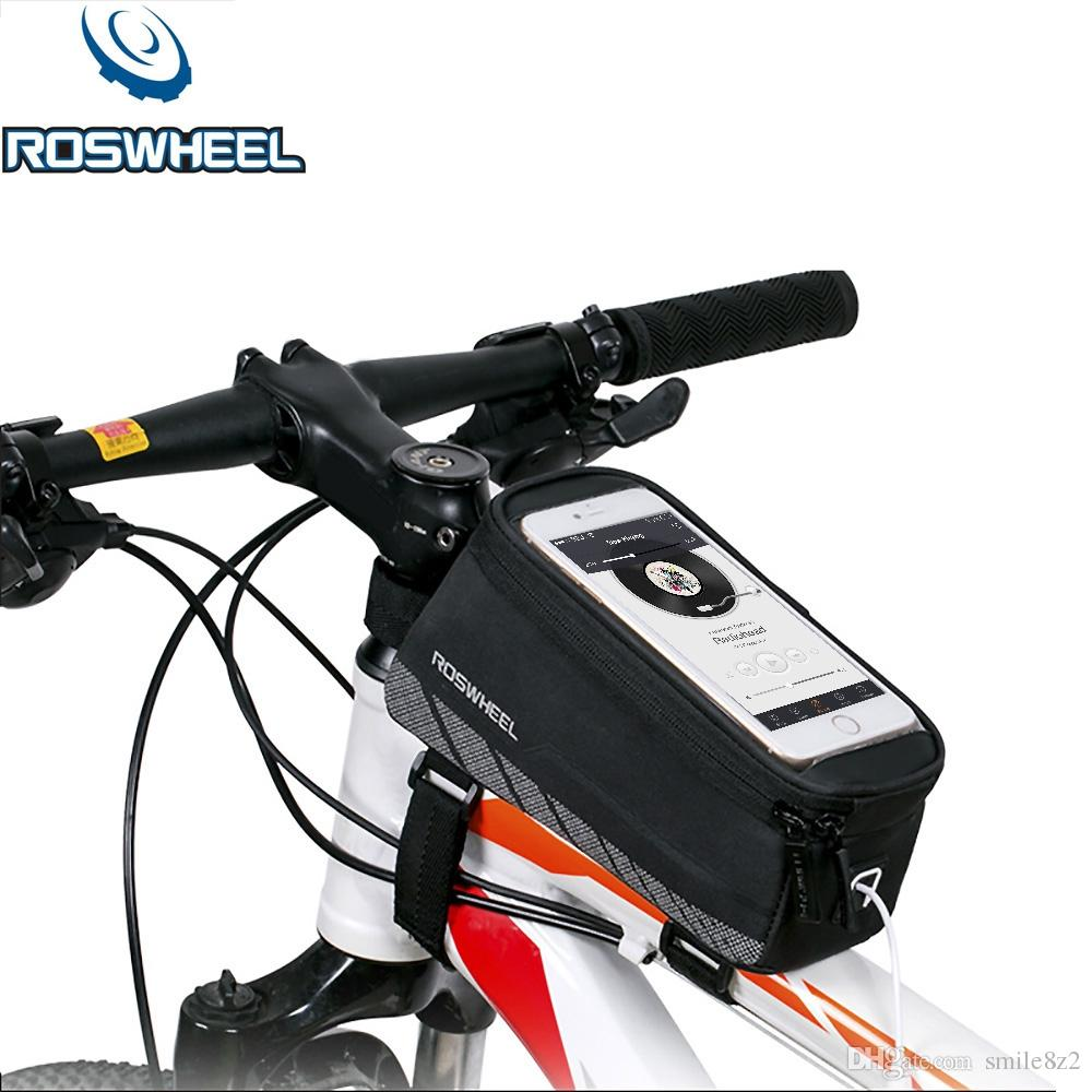 ROSWHEEL MTB Road Bicycle Bike Bags 7 Colors Touch Screen Cycling Top Front Tube Frame Saddle Bags For 4.8/5.5 Cell Phone Cases +B