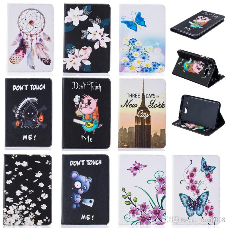 Tablet case For Samsung Galaxy Tab A 7.0 SM-T280 SM-T285 Cover Wallet Stand Leather Case With Card Slot Painting Butterfly tower