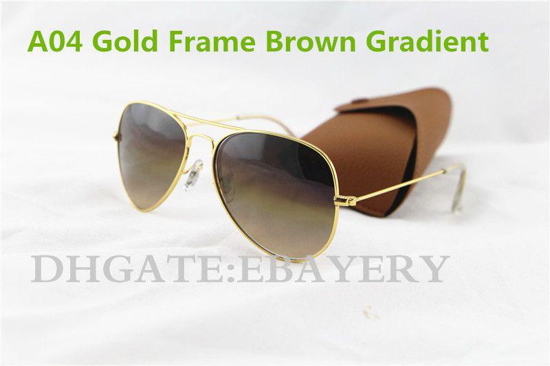 1pcs Hot Sale Men's Women's Pilot Gradient UV400 Sunglasses Designer Sun Glasses Gold Brown Blue Grey 62mm Glass Lenses Brown Case Box