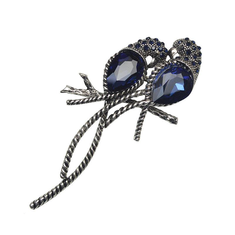 High Quality Zinc Alloy and Silver Plated for Women Animal Brooches A Pair of Bird Inlay Shiny Big Blue Crystal for Girls Pins
