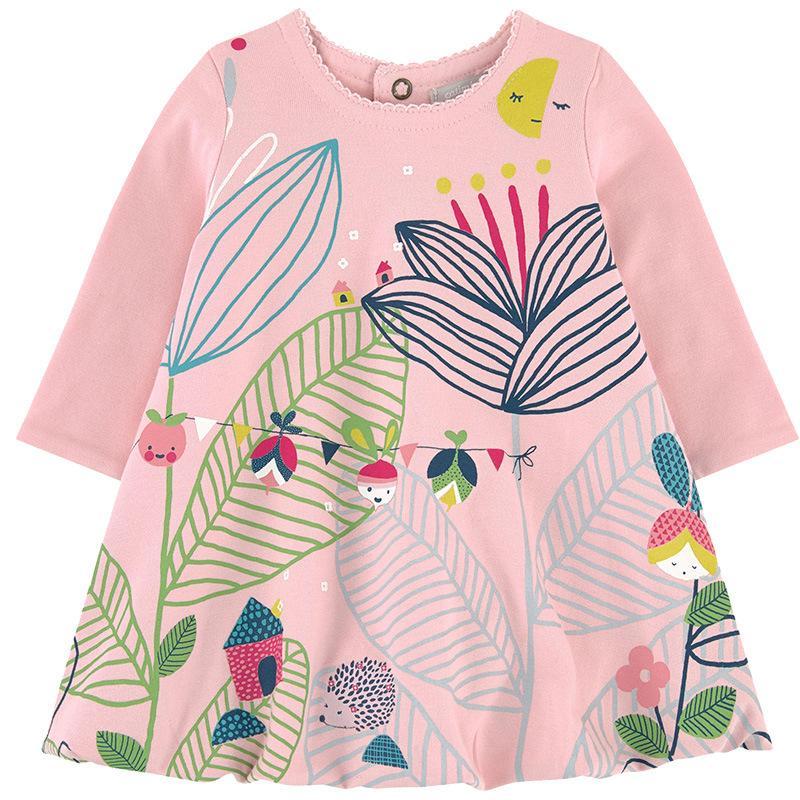 Vestido da menina crianças roupas de manga longa primavera outono novo algodão meninas vestidos crianças roupas flora vestido de princesa