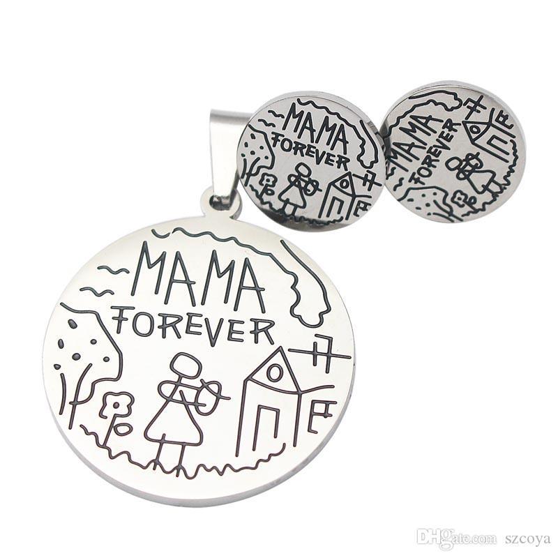 """보석 세트 어머니의 날 선물 어머니 스웨터 체인 목걸이 베스트 선물 """"MAMA FOREVER""""펜던트 목걸이 및 스터드 귀걸이 쥬얼리 세트"""