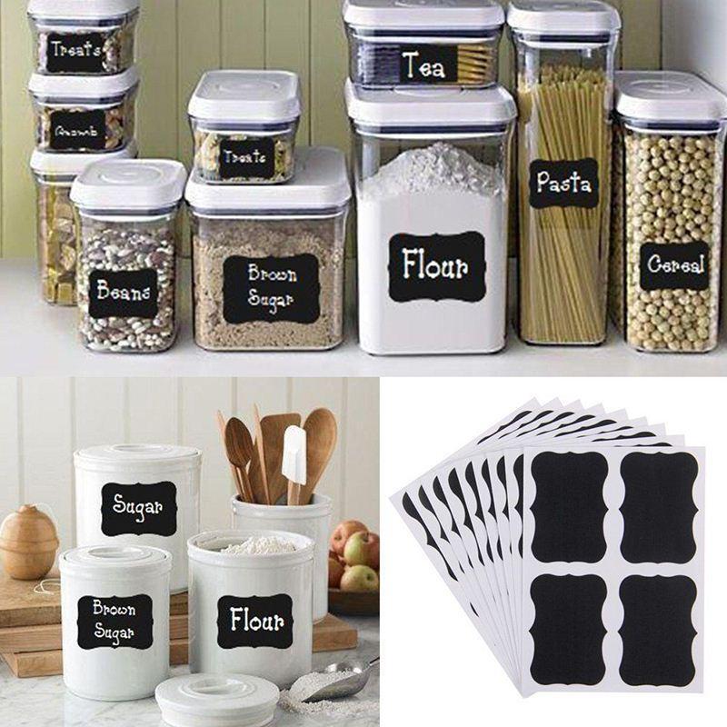 36Pcs Blackboard Sticker Black Chalkboard Chalk Board Decals For Craft Kitchen Jar Organizer Labels