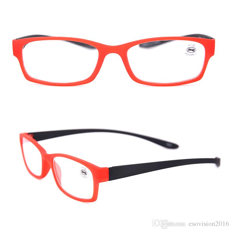 Venta al por mayor Moda ligera palstic Power Reading Glasses Black Magnification Crystal vintage lee gafas flexbile Cuello suspendido 175102