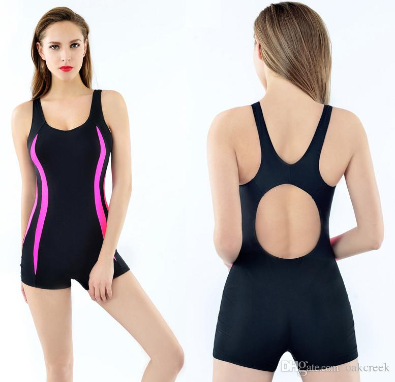 new style sports women boxer swimwear sexy conservative women swimsuit with bra pad no bra holder elastic one-piece bikini M L XL free shipp