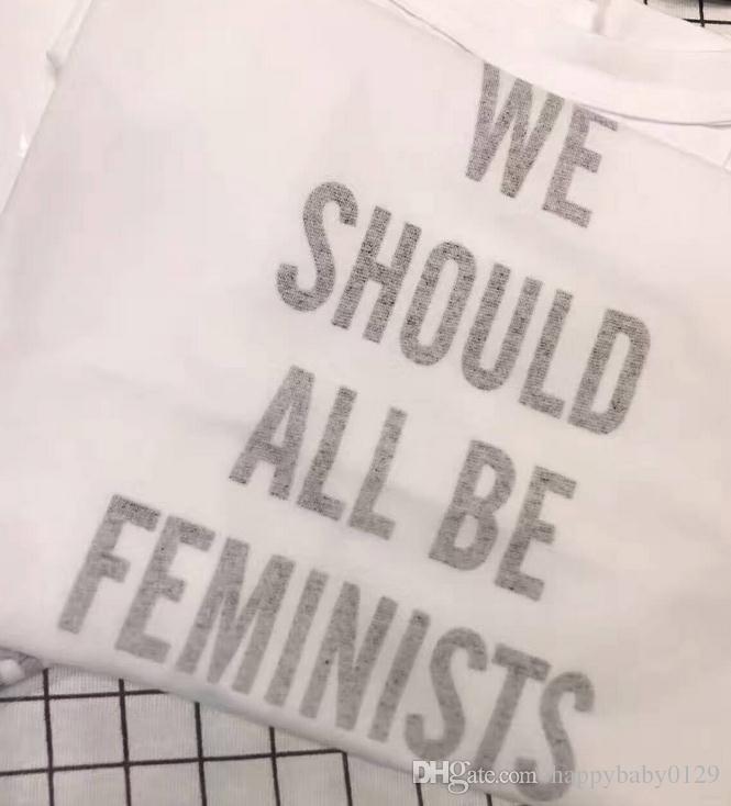 우리 모두가 여성 이구요. 여성 흰색 라운드 넥 반팔 T 셔츠 크기 S - L