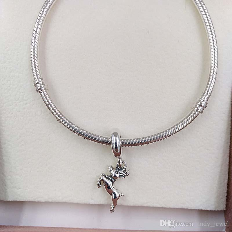 Reindeer Charm for Bracelet Christmas Gift in Sterling Silver Winter Jewellery