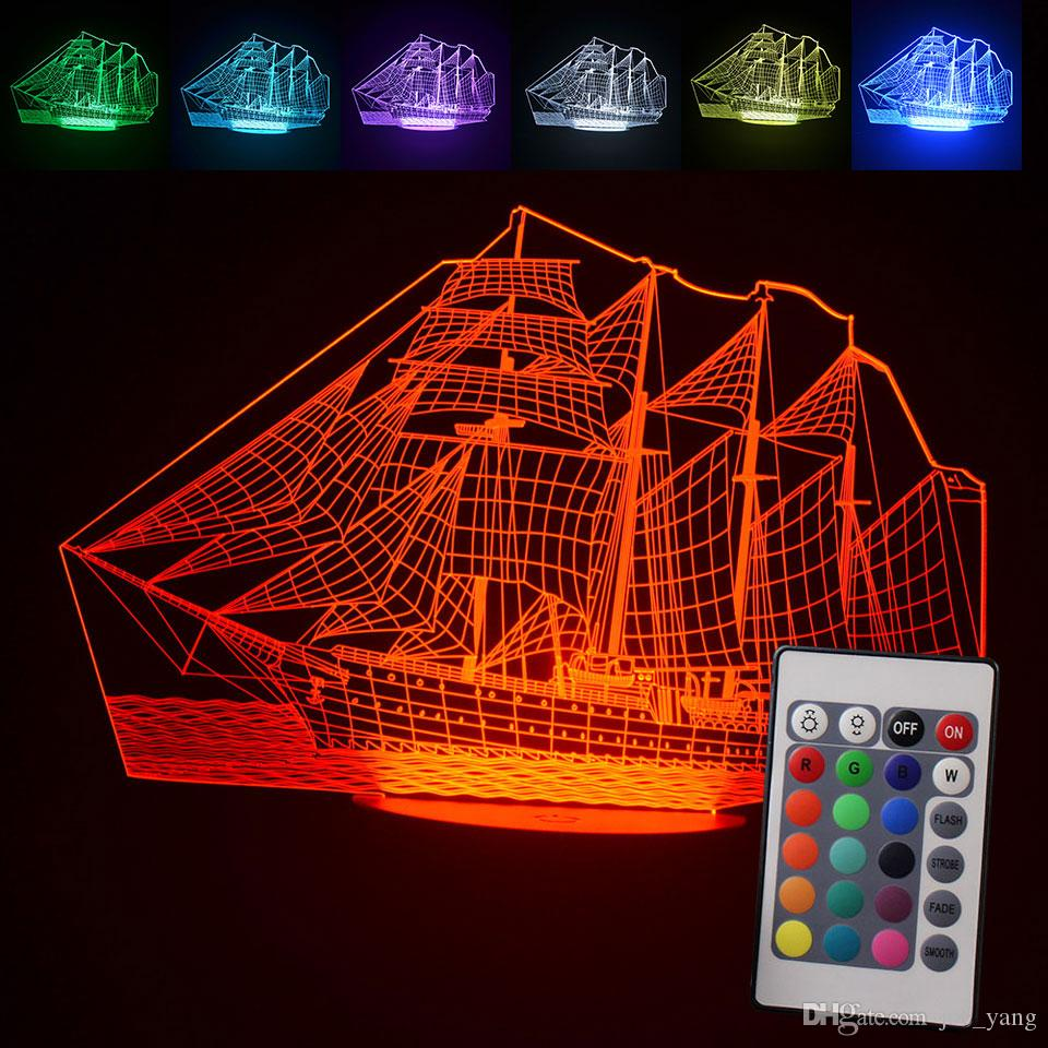Nueva actualización 3D Sailing Sea Boat ship Gift Home Cafe Decoración Night Light USB Led Table Desk Remote 7Colors Change Illusion Lamp Child Kids