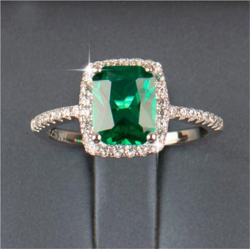 تعزيز كبير 3ct ريال 925 الفضة خاتم swa عنصر الماس الزمرد الأحجار الكريمة خواتم للنساء بالجملة مجوهرات الزفاف الاشتباك جديد