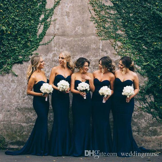 Cheap Navy Blue Bridesmaid Dresses Sweetheart Sleeveless A Line Mermaid Long Junior Bridesmaid Dresses/Maid Of Honor Dresses For Wedding
