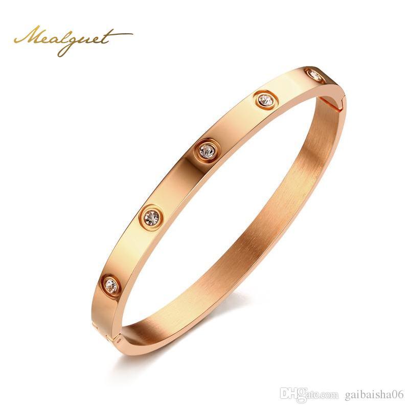 Brazalete de cristal de color oro rosa para mujeres de moda brazaletes de brazaletes de brazaletes de acero inoxidable 6mm de ancho