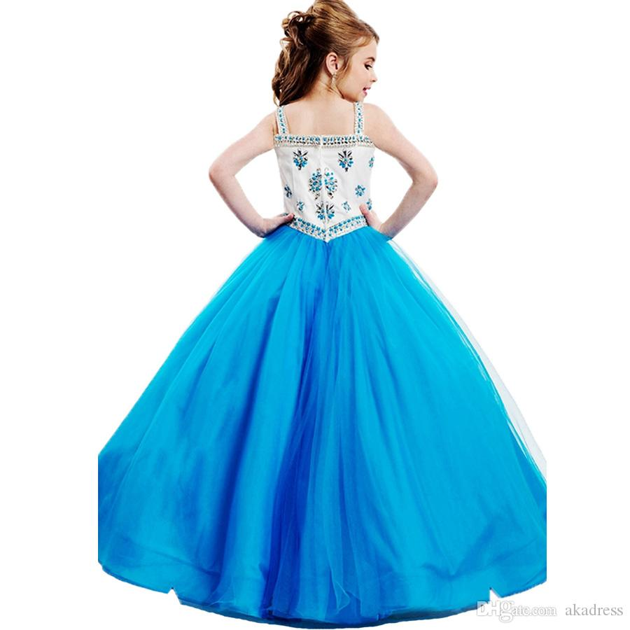 Elegant Beaded Crystal Blue Hot Pink Little Girl Pageant Dresses ...
