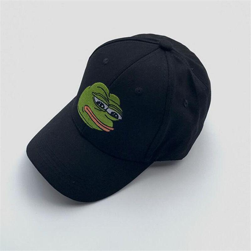 2017 새로운 패션 Unisex 녹색 개구리 Cattoon 패턴 모자 Snapback 야구 모자 자수 블랙 햇 모자 힙합 모자