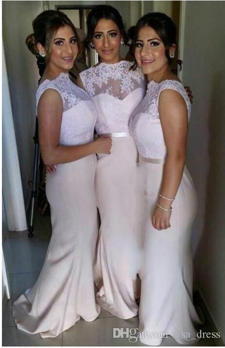 Blush Pink Lace Long Bridesmaid Dresses Mermaid prom Party Dress Prom Evening Dresses Sexy Backless Jewel Custom Made