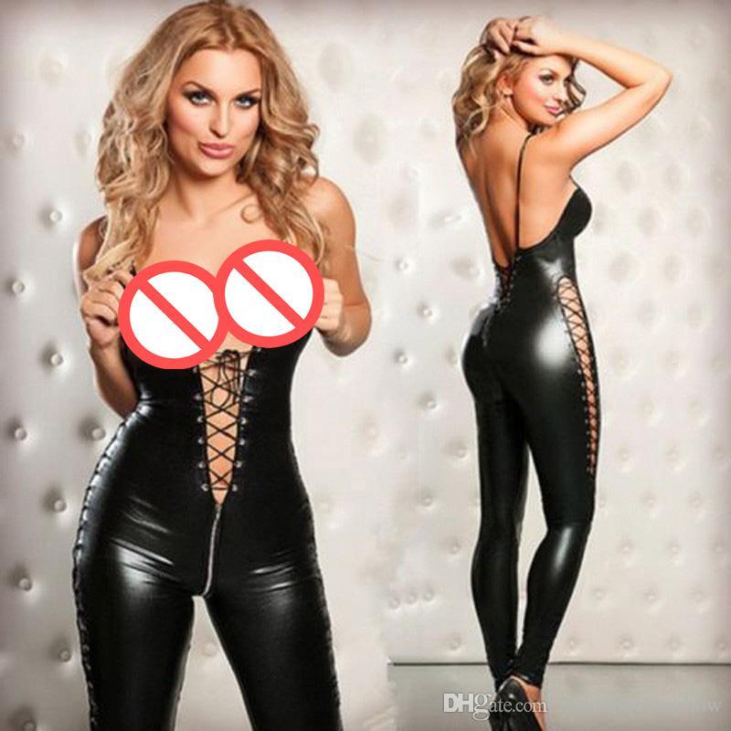 Sexy Donna Tuta Nera Tuta aderente lucida Tuta Stringate senza schienale Scava fuori Catsuit Giochi per adulti Abbigliamento da notte