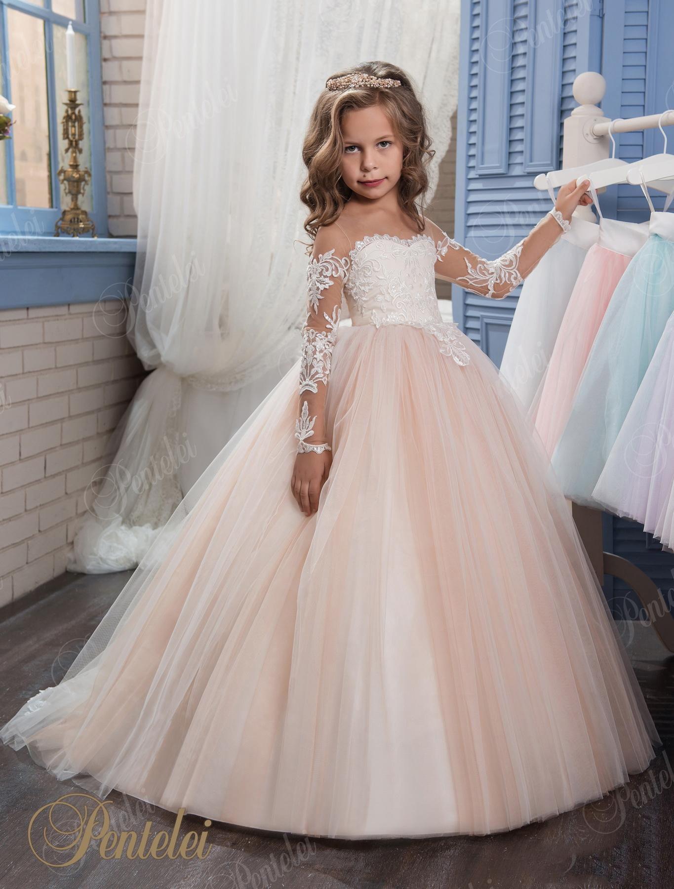 Großhandel Prinzessin Vintage Perlen Arabisch 20 Blumenmädchen Kleider  Mit Langen Ärmeln Sheer Neck Schöne Blumenmädchen Brautkleider Kinder  Kleider