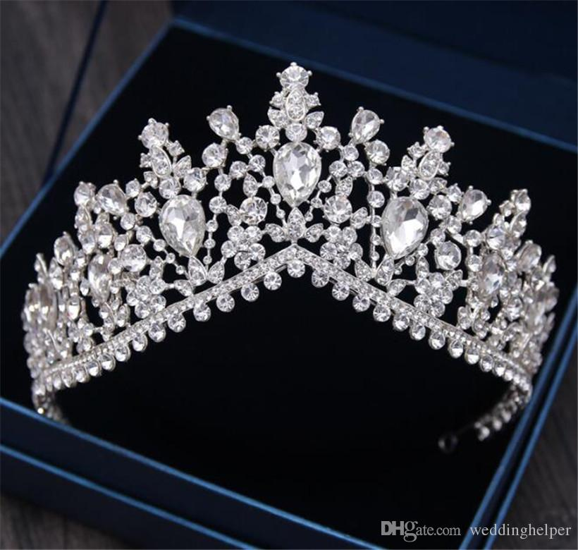 Vintage Princess crown Queen Tiara Wedding Bridal Hair Accessories Crystal Rhinestone Headband Headpiece Jewelry Silver Headdress Hotseller